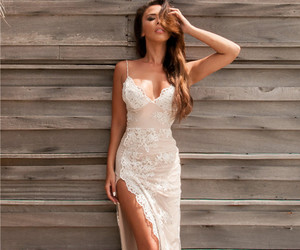 evening dress, open back, and lace image