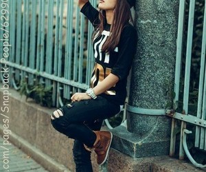 tomboy outfit, skater girl outfit, and snapback outfit image
