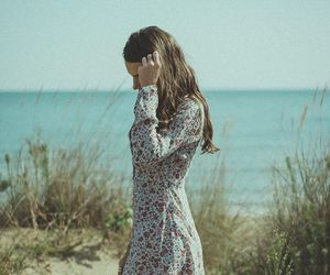 beach, dress, and floral dress image