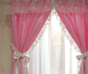 pink curtain bow cute image
