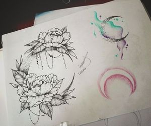 moon, peony, and watercolortattoo image
