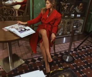 coat, coffee shop, and fashion image