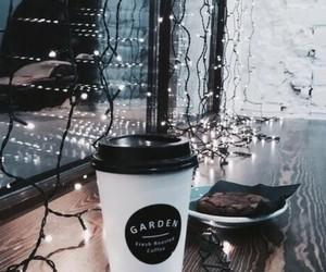 lights, coffee, and winter image
