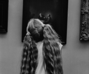 black and white, girl, and hair image