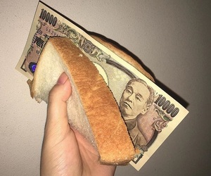 money, bread, and food image