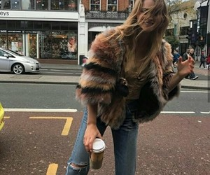 coffee, fur coat, and style image