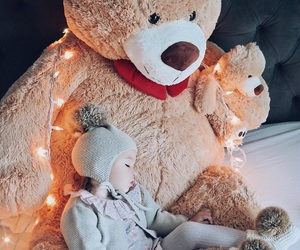baby, lights, and teddy image