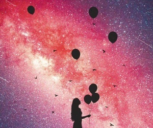 stars, girl, and balloons image