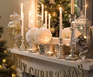 christmas, decoration, and fireplace image