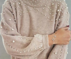 beautiful, sweater, and pearls sweater image