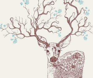 flowers, art, and deer image