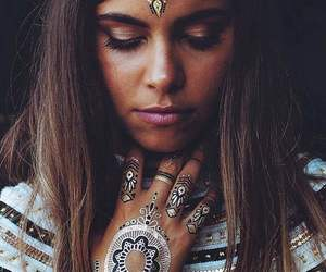 beautiful, brown hair, and henna image