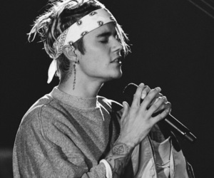 justin bieber, black and white, and bieber image