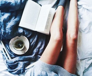 bed, book, and chilly image