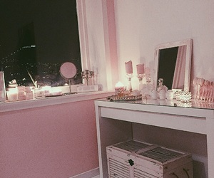 bed, bedroom, and girly image