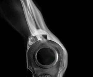 gun, smoke, and black image