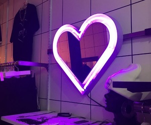 heart, neon, and purple image