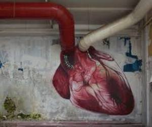 art, heart, and red image