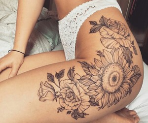flowers, tattoo, and hip tattoo image