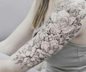 black and white, flowers, and tattoo image
