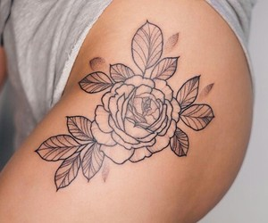 flowers, girl, and ink image