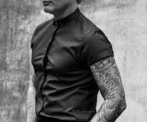 black and white, handsome, and tattoo image
