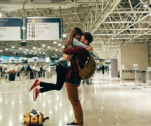 love, couple, and airport image
