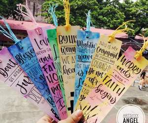 bookmark, calligraphy, and cute image