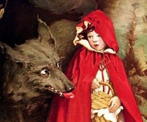 Grimm Brothers, red riding hood, and wolf image