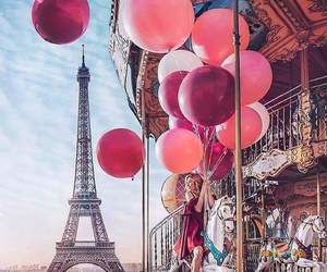 paris, balloons, and pink image