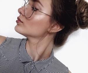 bun, girl, and glasses image