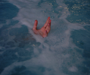 water, hand, and blue image