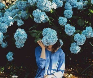 blue, girl, and flower image