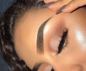 eye makeup, eyebrows, and highlighter image