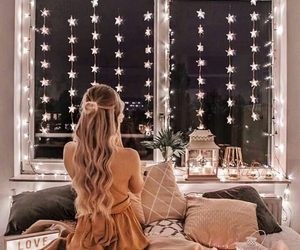 bed, girl, and lights image