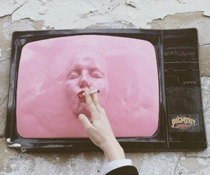 pink, cigarette, and tv image