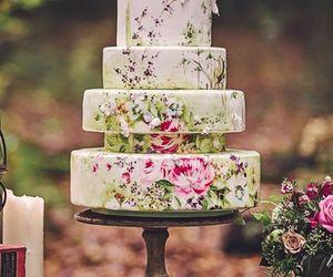 cake, strawberry, and wedding image