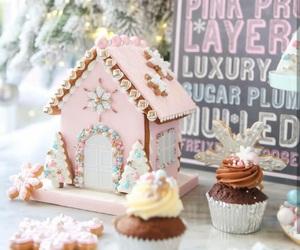 christmas, pink, and cupcake image