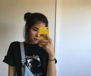 girl, asian, and selfie image
