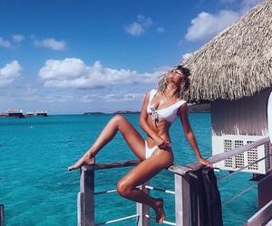 ocean, beach, and bikini image