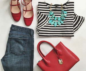 bag, jeans, and blouse image