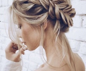 blonde, hairstyle, and braids image