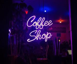 neon lights, aesthetics, and coffee image