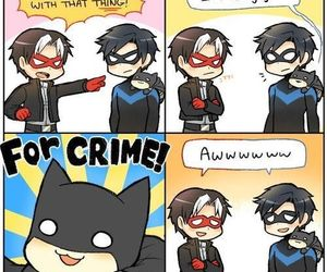 batman, cute, and nightwing image