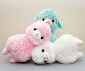 white, alpaca, and pink image