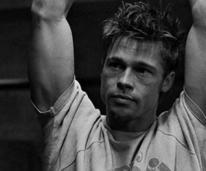 brad pitt, fight club, and black and white image