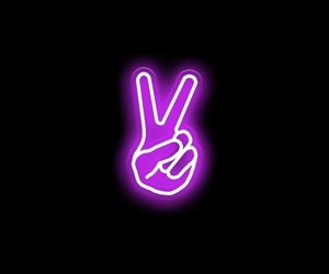 peace, purple, and neon image
