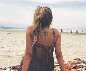 girl, tattoo, and beach image