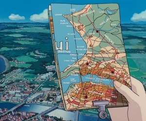 kiki's delivery service, anime, and maps image