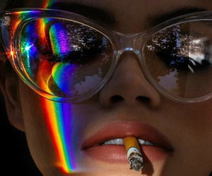 rainbow, girl, and cigarette image